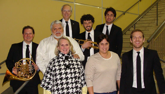 """A """"Blast from the Brass"""" greeted Authentic Custom Homes LLC, sponsors for The Canadian Brass. Israel and Tricia Pena, joined by Sally Pena, were backstage to visit with the five members of this world-renown brass quintet. Authentic Customs Homes has provided support to Boerne Performing Arts since inception in 2012, and enjoy spending the concert evening with their extended family at each performance."""