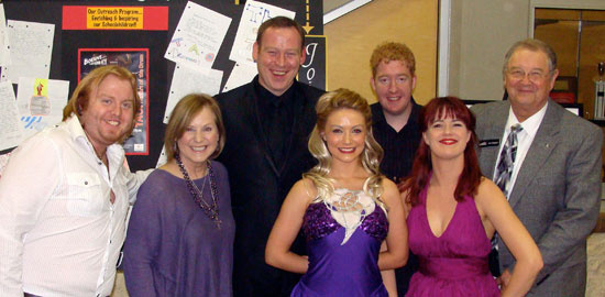 Kendall County Economic Development Corporation has been instrumental in the creation/development of Boerne Performing Arts as a Silver Sponsor for the first two years of the organization. The EDC/GVTC conference room hosts all the organizational committee meetings for Boerne Performing Arts. Following the Irish presentation, members of Celtic Nights enjoyed visiting with representatives from the EDC. Pictured from left to right are: Stevie O'Connor (Guitar/Uillean Pipes), Jana Rogers (EDC), Derek Ryan (vocalist), Clodagh Roper (dancer), Brian Kelly (Banjo), Suzanne Savage (vocalist) and Dan Rogers (President/CEO of Kendall County EDC).