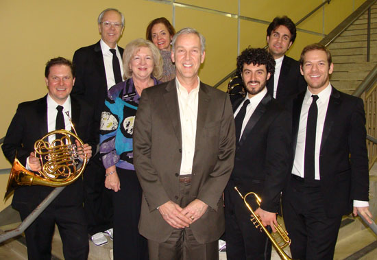 Representatives from Frost Bank enjoyed their visit with the five members of Canadian Brass. The opening performance of the 2015 season was performed to a full house, and was made possible by the continuing sponsorship of Frost. Representing Frost (from left to right) are: Kathy Estes, Lewis Thorne and Nancy Thorne.