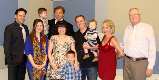 "Hearts' Home Acoustics continues to show their support both backstage and onstage, and enjoyed the opportunity to meet the Broadway Stars. Chuck Wagner, who performed the role of ""Beast"" in Disney's Beauty and the Beast, scooped up young Patrick Rutherford for a backstage photo. Pictured left to right are: Ricky Adams (Les Miserables), Anna Grace Salter, Patrick and Chuck, Amy Rutherford and son Pierson Rutherford, Chaney Rutherford with Ethan Rutherford, Carter Calvert (Smokey Joe's Café) and David Orf."
