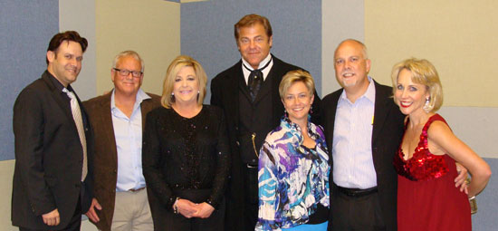Special thanks to Sonora Bank who continues to provide excellent, professional financial service in a hometown atmosphere…and enrich the quality of life in the communities they serve. Sonora Banks has provided financial support with previous sponsorships of The 5 Browns, The StepCrew, and now 102 Years of Broadway. Meeting the artists from left to right are: Jimmy Sandvig, Keri Sandvig, Susan Friar and Carlin Friar.