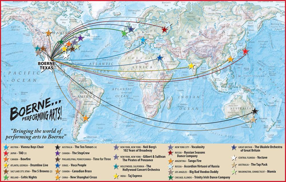 Boerne Performing Arts World Map 2020 Season