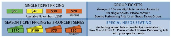 Boerne Performing Arts Ticket Pricing